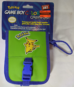 Vintage Nintendo Gameboy Color Pokemon Pikachu Carrying Case 1999 GB2 New GREEN