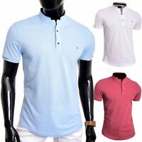 Men's Casual Grandad Collar Polo T Shirt UK Size Short Sleeve 100% Cotton Plain