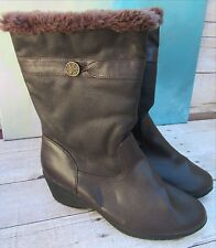 Khombu SNOWFLAKE Brown Wedge Heeled Winter Boots Faux Fur Lining Wms 11 M