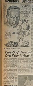 1952 newspaper clipping - Boxer Chuck Davey ready for matches in Chicago