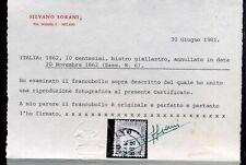 Regno 1862 10c. dentellato usato certificato