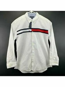 TOMMY HILFIGER Mens White Striped Long Sleeve Collared Shirt S
