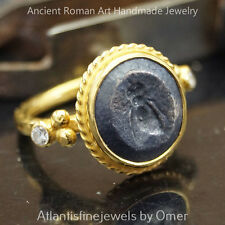 Sterling Silver Handmade Roman Art 2 Tone Fly Coin Ring 24k Yellow Gold Vermeil