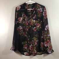 Women's KUT From the Kloth black floral rose sheer blouse Size Small TUNIC