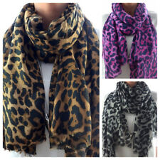 XXL Leichter Schal mit Leoparden Muster Tuch extra lang LEO Print NEU