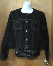 "Ladies ""Chaps"" Size 2X, Black, Collarless, 5 button, Denim 'Ranch Side' Jacket"
