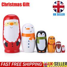 Xmas Santa Claus Wooden Russian Nesting Matryoshka 6pcs Dolls Hand Painted UK