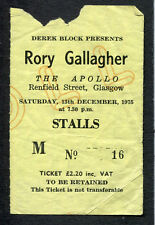 Original 1975 Rory Gallagher concert ticket stub Glasgow UK Against The Grain
