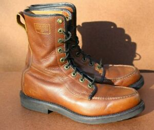 """Vintage Mens 8"""" Insulated Brown Leather Moc Toe Boots Shoes 8 1970s 80s"""