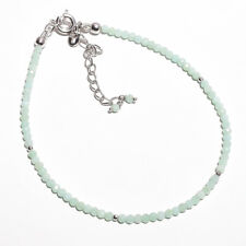 """AAA+ Natural Chrysoprase Gemstone Beads 925 Sterling Silver Bracelets 7-9"""" P-92"""