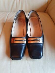 Ladies Vintage Gucci Shoes Black Gold Leather Heels  35 UK 2   US 5