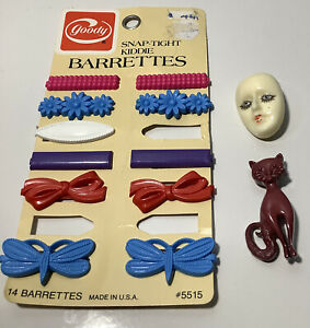 Vintage Hairclips Goody Barrettes & Brooches x2
