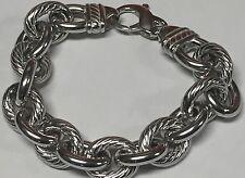 """Phillip Gavriel 925 Sterling Silver Textured Cable Link 8"""" Bracelet New"""