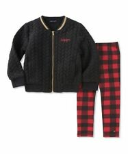 New Tommy Hilfiger Girls 2 pc Black Bomber Jacket &...