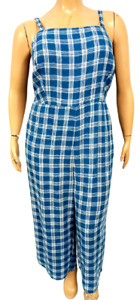 NWT Old navy blue plaid ruched back multi pockets sleeveless jumpsuit 2XT