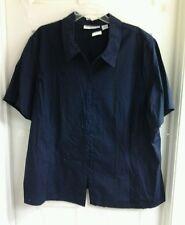 Sag Harbor, women's plus size 3X, navy blue cotton button up blouse, star, NWOT