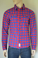 New abercrombie & fitch railroad notch chemise en flanelle rouge & blue check plaid m
