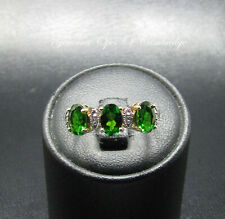 9K gold 9ct Gold Chrome Diopside and Diamond Band Ring Size N 2.29g US Sz 6 3/4