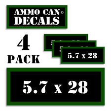 "5.7 X 28 Ammo Can 4x Labels Ammunition Case 3""x1.15"" stickers decals 4 pack"