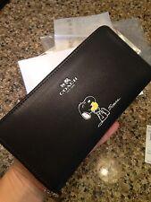 Coach NEW X Snoopy RARE Peanut Leather Accordian Zip Wallet F53773 L@@K!!!!