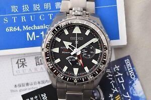 Serviced Seiko Prospex LandMaster SBEJ001 Automatic Titanium GMT Watch 6R64-00A0