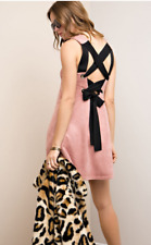 ENTRO suede-like shift dress metal garments w/self-tie ribbon Mauve SIZE S