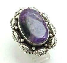 Oval Charoite Stamped Wide Sterling Silver 925 Ring 25g  Sz.9 SAF682