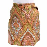 Tommy Bahama Womens Pencil Skirt Orange Paisley Belted Zip Flap Pocket Stretch 6