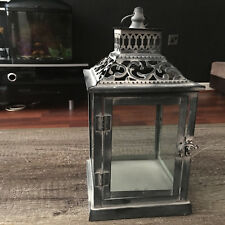 SMALL VINTAGE METAL LANTERN PILLAR CANDLE HOLDER WASHED HANGING LANTERN 27CM NEW
