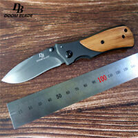 Knives 57HRC Folding Tactical Knife Steel Wood Combat Portable Pocket Titanium