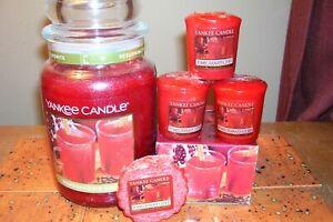 yankee candle 22oz JAR POMEGRANATE CIDER + 1 TART + 3 VOTIVES + TEA LIGHTS