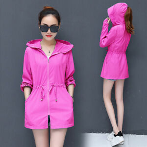 Womens Hooded Sun-protective Coat  Anti-UV Top Cycling Jacket Breathable Summer
