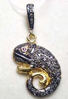 92.5 Sterling Silver Charms Pendant Pave Diamond Pendant Frog Shape Pendant