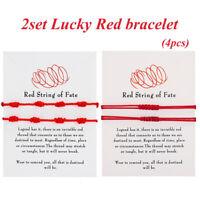 2set Lucky Red String bracelet Kabbalah Amulet 7 Knots Friendship Rope Gifts Lot
