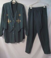 Monique Fashions Embellished Green Top 3X Pants 2X Set - Women's 3X - E11