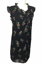HOPE & HARLOW $169 Black Floral Lace Up Chiffon Shift Dress Size 14 NWT