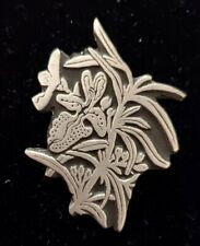 Orchid Brooch 1998 Signed Urban Fetishes Embossed Silver
