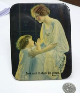 """Vintage Picture on metal tin backing """"Ask and it shall be given"""" Bible Verse"""