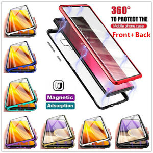 360° Magnetic Tempered Glass Case For Samsung S21 S20 Plus S9 S10 Full Cover