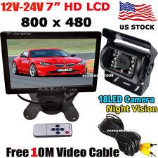 """12V-24V 7"""" HD Digital TFT LCD Monitor+Bus Truck IR Rear View Reversing Camera"""