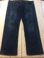 Mens Levi's 569 Loose Straight Fit Dark Wash Stretch Denim Jeans Size 42x32
