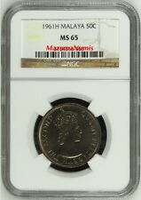 Mazuma *** Malaya QE 1961H 50c NGC MS65