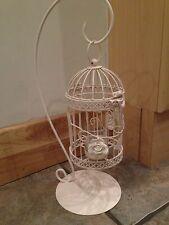 12 xCream/Ivory Hanging Birdcage+Butterflies+Rose Tea Light HoldersWedding Table