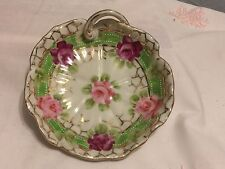 Nippon Candy Nut Dish Hand Painted Finger Loop Handle White Porcelain