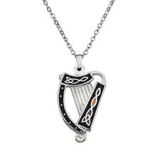 New Silver Tone Enamel Celtic Irish Harp Pendant Necklace in Gift Box 3223