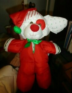1991 Fisher Price Christmas Puffalump Puppy Dog Stuffed Animal Red with Hat 8126