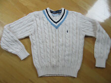 POLO RALPH LAUREN Beige V-Neck Sweater Boys, Size M