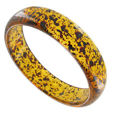 Bracelet Bangle Faux Tortoise Amber Color Black Speckled Lucite Plastic