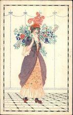 Mela Koehler Unsigned??? Beautiful Woman w/ Flowers c1910 Postcard