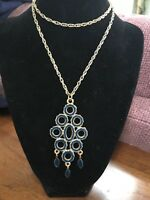 Vintage 28 Inch Blue Enameled Pendant Necklace